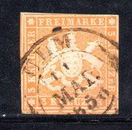 T68 - WUERTTEMBERG 1857 ,  3 Kreutzer  Usato