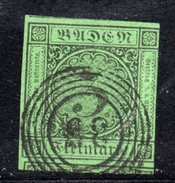 T658 - BADEN 1852 ,  3 K.  Usato . Margine Dx A Filo
