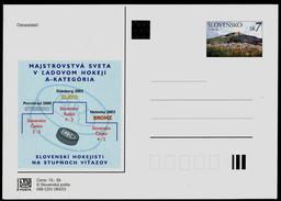 611 SLOVAKIA Postal Card-with Imprint World Ice Hockey Championship Gold Goteborg, Silver St. Petersburg Bronze Helsinki