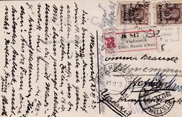 Russia Civil War 1923 .Register Postcard  Far Eastern Republic Vladivostok  To Stettin Germany