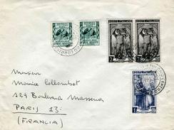 """Env. De 1952 Avec Timbres """"Mécanicien Piémontais (573), Maître Maçon Lombard.(574), Attributs Des Armes (637)"""""""