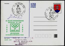 615-SLOVAKIA Postal Card With Imprint Jan ZACHARA Autograph Olympic Champion In Boxing Gold-Helsinki 1952 300 Pcs 1997