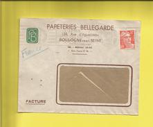 Enveloppe Ou Lettre Publicitaire Commerciale De BOULOGNE SUR SEINE PAPETERIES BELLEGARDE  N° 885 GANDON Le 12 01 53 - Marcophilie (Lettres)