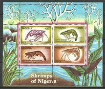 NIGERIA  1988  SHRIMPS  SHEET MNH