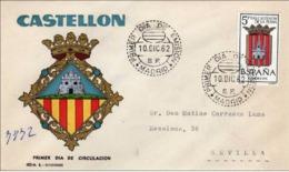 España 1962. Escudo De Castellon De La Plana. Primer Dia. Certificado A Sevilla.