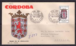 España 1963. Escudo De Cordoba. Primer Dia. Circulado A Sevilla.