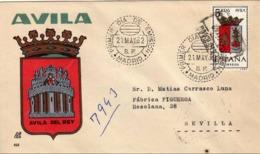 España 1962. Escudo De Avila. Primer Dia. Certificado A Sevilla.