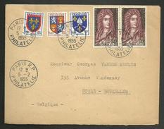 N° 1008 X 2 ST SIMON + Blasons / Lettre Pour La BELGIQUE / 05.02.1955....1er Jour De Mise En Vente