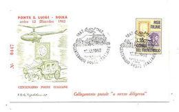 """ITALY 1962 FDC COLLEGAMENTO POSTALE 'A MEZZO DILIGENZA"""" PONTE S. LUIGI ROMA"""