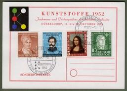 """Bund: Sonderkarte Mit Mi-Nr. 148, 149, 155  U. 156. SST Zu """"Kunststoffmesse Düsseldorf 1952"""" !    X"""