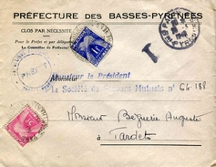 """Env. De 1946 """"Préfecture Des Basses-Pyrénées"""" Avec Timbres Taxes """"Tx 81 & 85"""""""