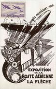 """CP De 1948 Illustrée """"Journées Philatéliques 1948 - Exposition De La Poste Aérienne De La Flèche"""""""