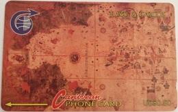 Turks & Caicos - GPT, MV :3CJGB, Map, 1000ex, 1992, Used