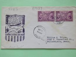 USA 1937 First Flight Cover Fresno To Philadelphia - Map Ordinance Of 1787 - United States