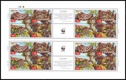 UKRAINE 2002. WWF. REPTILES. LEOPARD SNAKE. Mini-sheet Of 4 Sets With Labels. Mi-Nr. 502C-505C Klb. MNH (**)