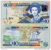 EAST CARIBBEAN STATES       10 Dollars       P-52        ND (2012)      UNC - Caraibi Orientale