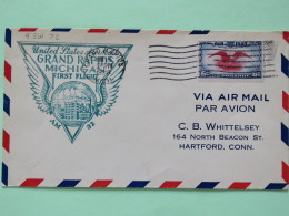 USA 1938 First Flight Cover Grand Rapids To Hartford - Eagle - Wings