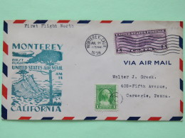 USA 1938 First Flight Cover Monterey To Carnegie - Wings Plane Washington