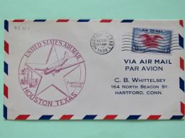 USA 1938 First Flight Cover Houston To Hartford - Eagle - Plane - Star