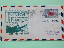 USA 1938 First Flight Cover Tallahassee To Richmond - Eagle - Plane