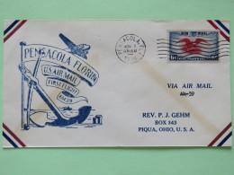 USA 1938 First Flight Cover Pensacole To Piqua - Eagle - Plane Anchor