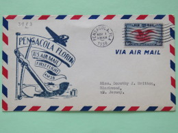 USA 1938 First Flight Cover Pensacole To Blackwood - Eagle - Plane Anchor