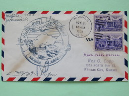 USA 1938 First Flight Cover Mobile To Kansas City - Plane - Ships - Constitution