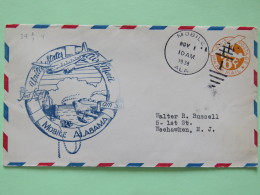 USA 1938 First Flight Stationery Cover Mobile To Weehawken - Plane - Ships