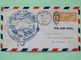 USA 1938 First Flight Cover Mobile To New Orleans - Plane - Ships - Wings