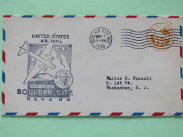 USA 1938 First Flight Stationery Cover Boulder City To Weehawken - Plane - Dam