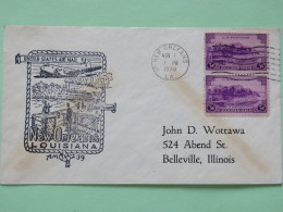 USA 1938 First Flight Cover New Orleans To Belleville - Plane - Steam Ships - La Fortaleza