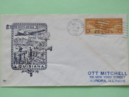 USA 1938 First Flight Cover New Orleans To Aurora - Plane - Steam Ship - Wings