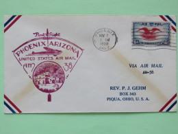 USA 1938 First Flight Cover Phoenix To Piqua - Eagle - Plane
