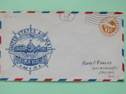 USA 1938 First Flight Stationery Cover Norfolk To Chicago - Plane - Ship