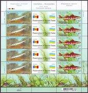 UKRAINE 2007. PRESERVATION OF DNIESTR FAUNA. FISHES. JOINT ISSUE With MOLDOVA Mini-sheet Mi-Nr. 894-95 Klb. MNH (**)