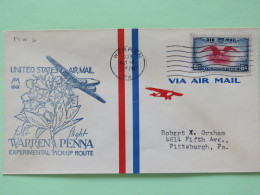 USA 1939 First Flight Cover Warren To Pittsburgh - Eagle - Planes - Flower