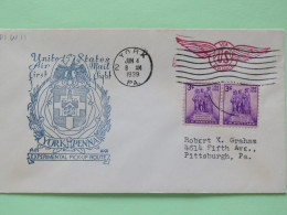 """USA 1939 First Flight Cover York To Pittsburgh - Statue """"""""Colonization Of The West"""""""""""