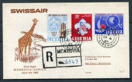 1965 Liberia Swissair Registered First Flight Cover Monrovia - Zurich, Switzerland