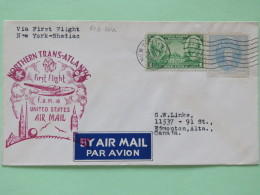 USA 1939 First Flight Cover New York (Trans-Atlantic) To Canada - Washington - Greene - Virginia Dare - Plane - Clover