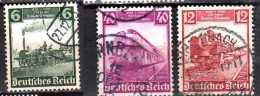 1935 D. Reich - 100 Jahre Deutsche Eisenbahn - 3 V Used - Mi 580,581,583 Xdr