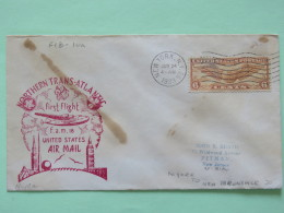 USA 1939 First Flight Cover New York (Trans-Atlantic) To Pitman - Wings - Plane - Clover