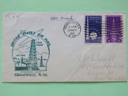 USA 1939 First Flight Cover Grantsville To Newark - Golden Gate - New York World Fair - Petroleum Tower - Plane
