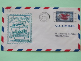 USA 1939 First Flight (rotory-wing Aircraft) Cover Philadelphia To Somers - Eagle - Plane Cancel