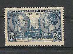 FRANCE 1939  Centenaire De La Photographie Niepce Et Daguerre  YT 427 Neuf** Sans Charniere