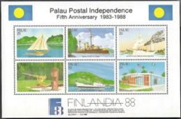 Palau,  Scott 2017 # 196,  Issued 1988,  S/S Of 6,  MNH,  Cat $ 3.00,  Postal - Palau