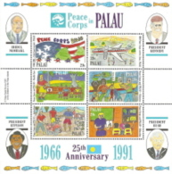 Palau,  Scott 2017 # 297,  Issued 1991,  S/S Of 6,  Corner Crease TL,  MNH,  Cat $ 3.75,  Peace Corp - Palau