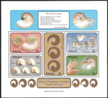 Palau,  Scott 2017 # 203,  Issued 1988,  S/S Of 5,  MNH,  Cat $ 3.00,  Seashells - Palau