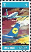 Umm Al-Qiwain 1972 - Plane Of Airline Lufthansa ( Mi 605 - YT Xxx )