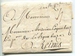 """"""" De Saint Quentin"""" , Utilisation Tardive De La Marque Manuscrite /lettre De 1814 Pour Reims"""