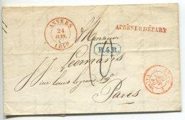 APRES LE DEPART +  B.4R./lettre De Anvers Pour Paris